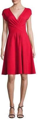 Armani Collezioni Milano Jersey V-Neck Dress, Red