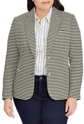 Lauren Ralph Lauren Plus Striped Buttoned Blazer