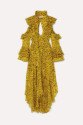 Diane von Furstenberg Ruffled Leopard-print Silk-georgette Wrap Maxi Dress - Yellow