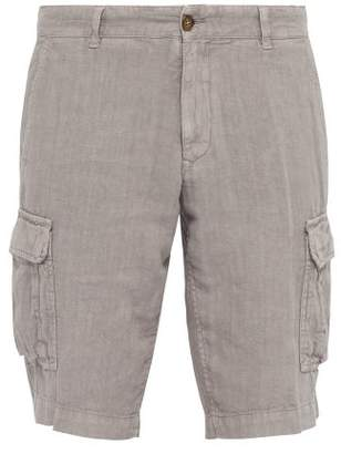 Once Milano - Crushed Linen Poplin Cargo Shorts - Mens - Grey