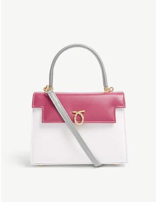 Launer Rose Pink Colour Block Judi Tri Leather Tote Bag