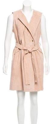Neiman Marcus Sleeveless Suede Dress