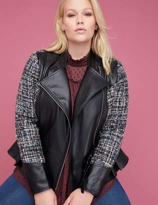 Tweed & Faux Leather Peplum Jacket