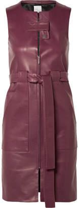 Rosetta Getty Belted Leather Dress - Merlot
