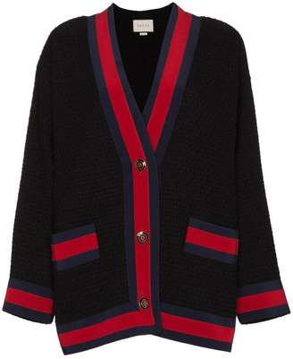 Gucci Tweed Contrast Stripe Cardigan
