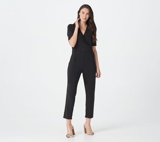 Halston H By H by Petite Elbow Sleeve Jet Set Jersey Ankle Jumpsuit