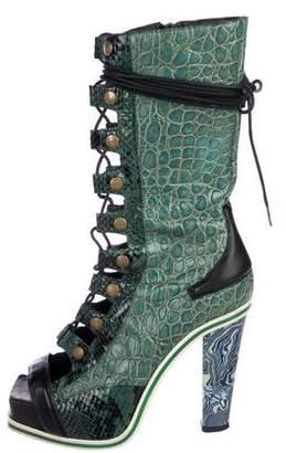 Rodarte Peep-Toe Mid-Calf Boots