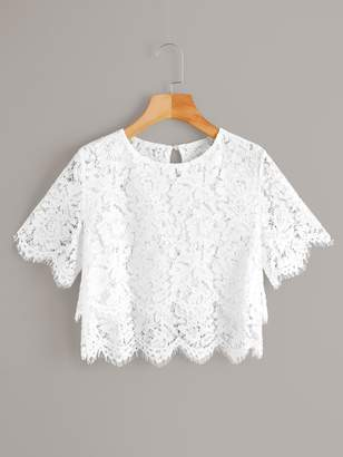 Shein Lace Scallop Hem Sheer Crop Blouse