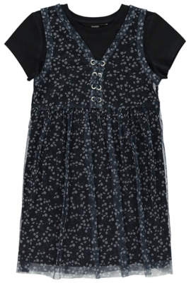George Jersey Dress and Floral Mesh Pinafore Set