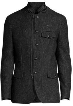 John Varvatos Tailored Wool-Blend Marled Coat
