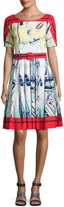 Samantha Sung May Sailboat Printed Half-Sleeve A-Line Dress
