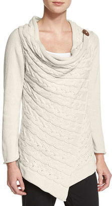 Pure Handknit Draped-Neck Cable-Knit Cardigan $195 thestylecure.com