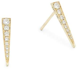 Ef Collection Women's Diamond & 14K Yellow Gold Single Dagger Stud Earring