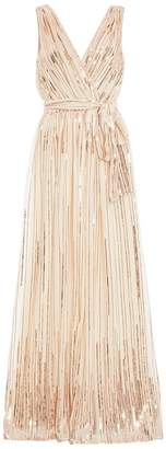 Quiz Champagne Woven Sequin Flare Skirt Maxi Dress