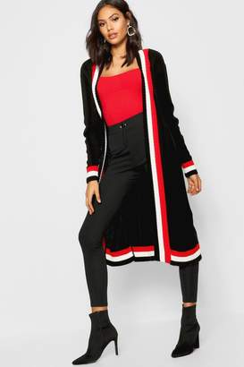 boohoo Maxi Sports Stripe Belted Cardigan