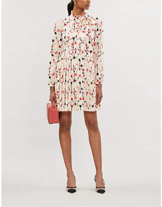RED Valentino High-neck arrow-print crepe mini dress