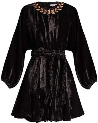 RHODE RESORT Ella tie-waist embroidered velvet dress