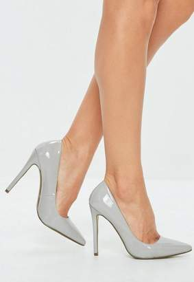 Missguided Gray Patent Pointed Toe Pumps