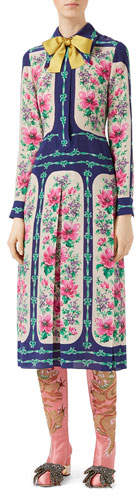 Gucci Rose Window Print Silk Dress, Multicolor