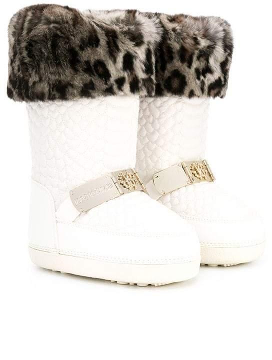 Roberto Cavalli Kids embossed leopard trim snow boots