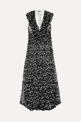Lee Mathews - Mansfield Ruffled Polka-dot Crinkled Silk-georgette Maxi Dress - Black
