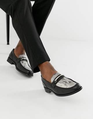 Asos Design DESIGN chunky sole loafer in black leather with snaffle