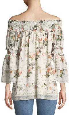Max Studio Off-The-Shoulder Floral Ruffle-Tiered Blouse