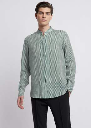 Emporio Armani V-Neck Shirt In Stripe-Print Cotton