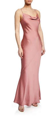 Shona Joy Cowl-Neck Spaghetti-Strap Bias-Cut Satin Slip Dress