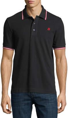 Bally Striped Cotton Pique Polo Shirt Black
