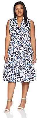 Anne Klein Women's Plus Size Printed Notch Collar Wrap Dress