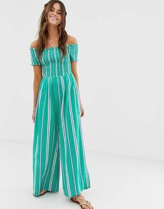 Cleobella Jade stripe bardot jumpsuit
