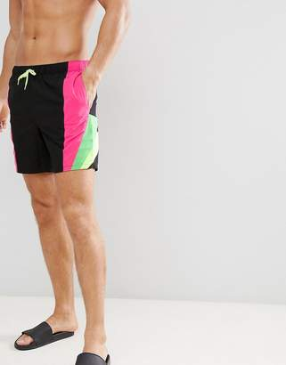 Asos DESIGN Swim Shorts With Neon Side Stripes Mid Length