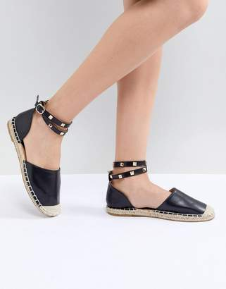 Truffle Collection Studded Ankle Strap Espadrille