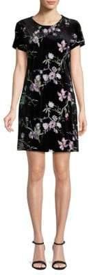 Calvin Klein Embroidered Velvet Shift Dress