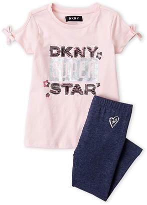 DKNY Toddler Girls) Two-Piece Cold Shoulder Top & Leggings Set