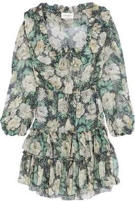 Zimmermann Bowerbird Ruffled Floral-Print Fil Coupé Silk-Blend Mini Dress