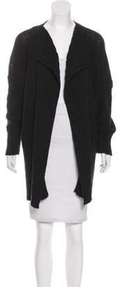 eskandar Rib Knit Open-Front Cardigan