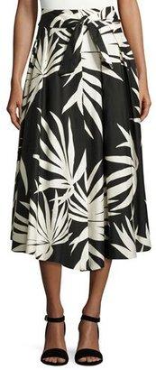 Milly Jackie Palm-Print Cotton Midi Skirt, Black $395 thestylecure.com