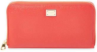 Dolce & Gabbana Dauphine Calfskin Leather Zip Around Wallet
