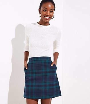 LOFT Petite Plaid Pocket Shift Skirt