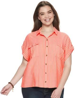 So... Juniors' Plus Size SO Button Front Utility Shirt