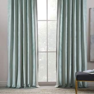 west elm Cotton Luster Velvet Curtain - Pale Jade