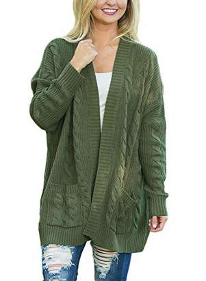 Actloe Women Casual Open Front Long Sleeve Cable Knit Sweater Cardigan with Pocket Medium
