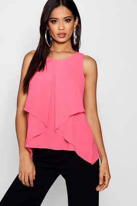 boohoo Sleeveless Split Front Double Layer Blouse