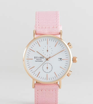 Reclaimed Vintage Inspired Chronograph Canvas Watch In Pink 36mm Exclusive to ASOS