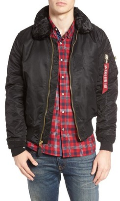 Men's Alpha Industries B-15 Removable Faux Fur Collar Flight Jacket $150 thestylecure.com