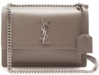 Saint Laurent - Sunset Medium Leather Cross Body Bag - Womens - Light Grey