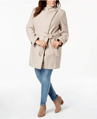 Calvin Klein Plus Size Asymmetrical Belted Coat