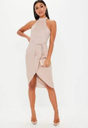 Missguided Taupe High Neck Suede Tie Midi Dress